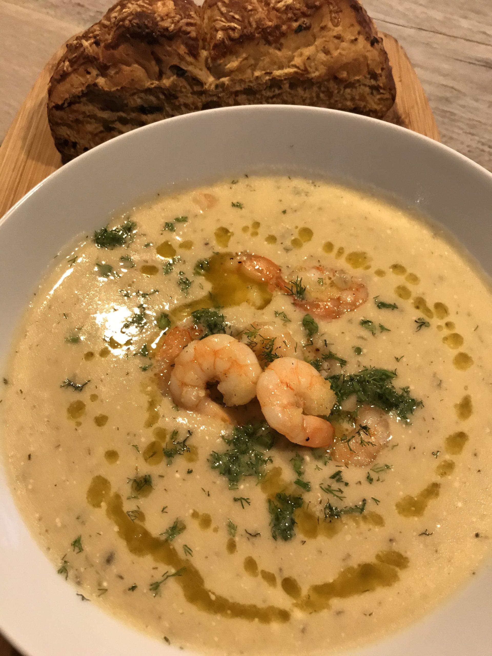 Photo of Josephine's Cucina : Fluweelzachte venkelsoep met garnalen, parmigiano en knoflook